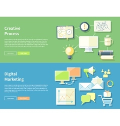 Creative process and digital marketing concept vector