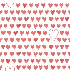 Cute seamless pattern with red hearts vector