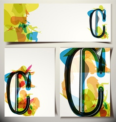 Artistic greeting card letter c vector