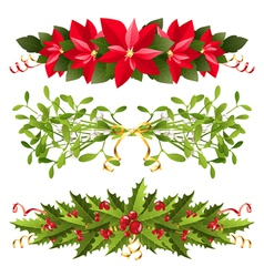 Christmas floral borders vector