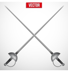 Pair of fencing rapiers realistic vector