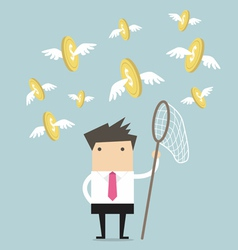 Businessman catch flying coins vector