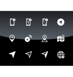 Navigator icons on black background vector