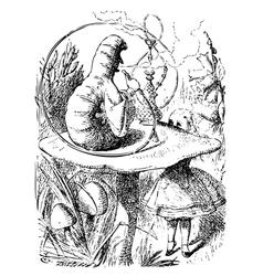 Smoking caterpillarin alice in wonderland vector