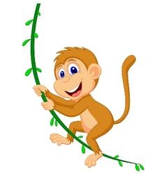 Cute monkey cartoon swinging vector