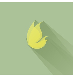 Yellow butterfly on a green background vector