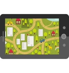 Touch screen tablet gps with cartoon map vector
