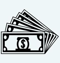 Stack dollars banknotes vector