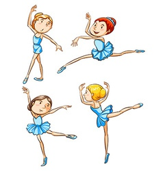 Coloured sketches of the ballet dancers vector