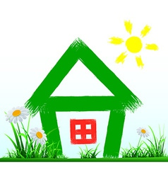 Painted house stands on the lawn vector