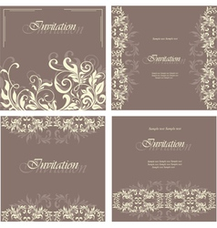 Set of floral card vector