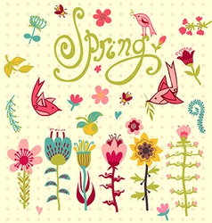 Doodle set of spring flowers with lettering vector
