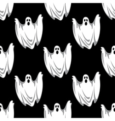 Cartoon scary ghosts in halloween seamless pattern vector