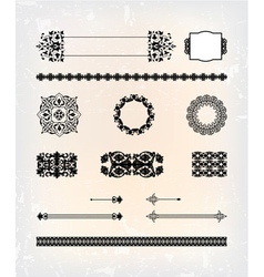 Set of abstract antique flourish pattern vector