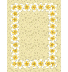 White frangipani flowers frame on sand vector