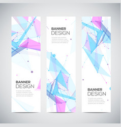 Vertical banners set with polygonal abstract vector
