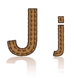 Letter j is made grains of coffee isolated on whit vector