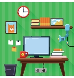 Modern workplace in room flat vector