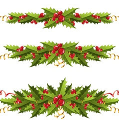 Holly berry borders vector
