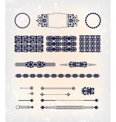 Set of abstract baroque pattern design vector