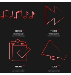 Set of fashionable red icons trending symbols flat vector