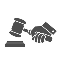 Judge gavel in hand black and white icon vector