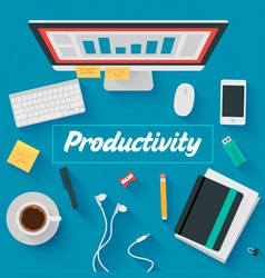 Trendy flat design productive office vector