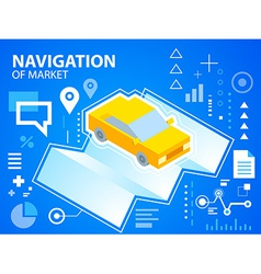 Bright navigate map and car on blue backgrou vector