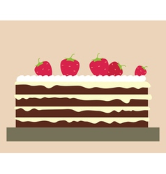 Cake with strawberries vector