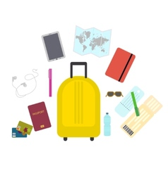 Travel set icons in flat style vector