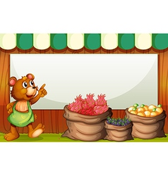 A bear at the market with an empty template at the vector