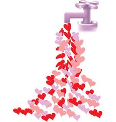Heart faucet vector