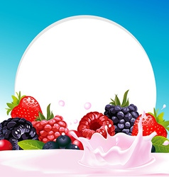 Frame with wild berry fruit and milk or yogurt vector