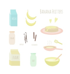Recipe for making banana fritters vector