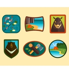 Set of camping equipment symbols vector