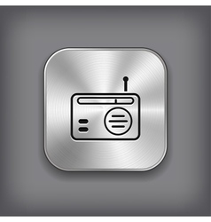 Radio icon - metal app button vector