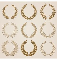 Set of gold laurel wreaths vector