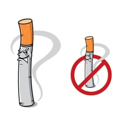 Sign no smoking with danger cigarette vector