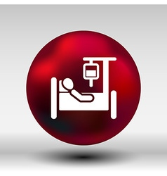 Hospital stretcher bed iv icon recovery injecting vector