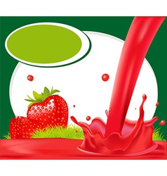 Red splash of strawberry juice in green frame - vector