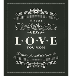 Happy mothers day typography design on blackboard vector