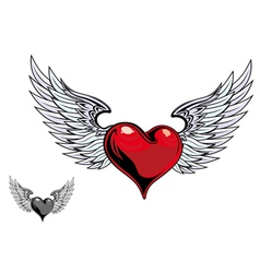 Retro heart wings vector