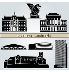 Ljubljana landmarks and monuments vector