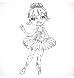 Beautiful little ballerina girl tiara outlined vector