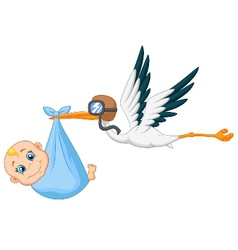 Cartoon stork carrying baby vector