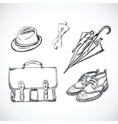 Gentleman sketch handdrawn set vector