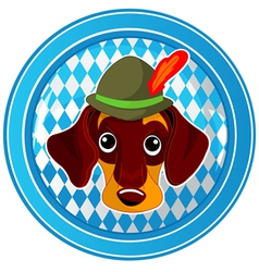Oktoberfest circle dog button vector