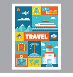 Travel - mosaic poster with icons in flat design vector