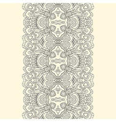 Lace fabric seamless border with abstract ornament vector