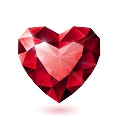 Shiny isolated red ruby heart shape on white vector